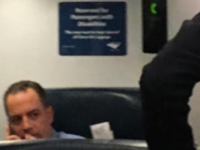 This Sure Looks Like Reince Priebus Taking a Seat Reserved for Disabled Passengers