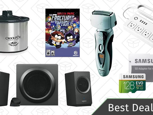 """<a href=""""https://kinjadeals.theinventory.com/fridays-best-deals-logitech-speaker-system-panasonic-1822225541"""" data-id="""""""" onClick=""""window.ga('send', 'event', 'Permalink page click', 'Permalink page click - post header', 'standard');"""">Friday's Best Deals: Logitech Speaker System, Panasonic Shavers, MicroSD Cards, And More</a>"""