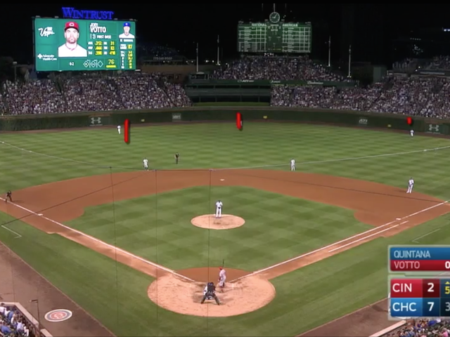 Joey Votto Cares Not For Cubs' Four-Outfielder Shift, Hits Double