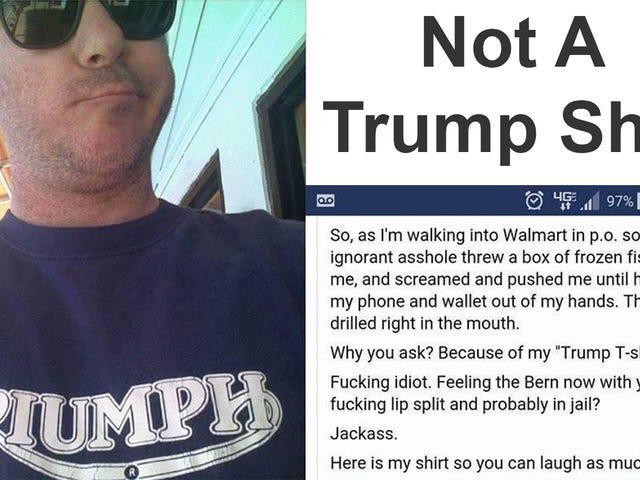 Var denne fyr i en Triumph Shirt virkelig angrebet til at bære en 'trumpet' skjorte?