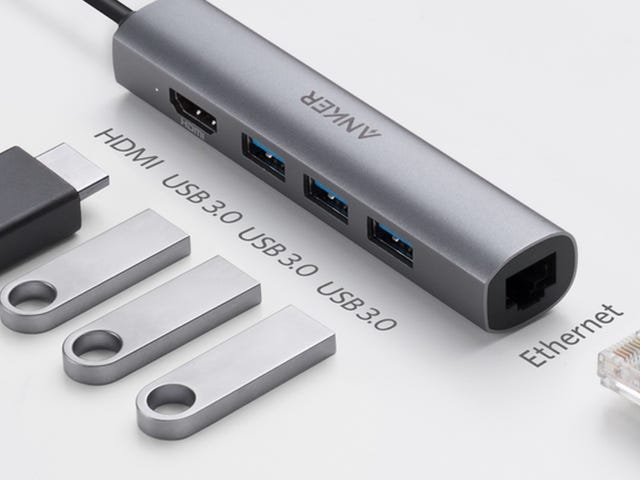 Turn a USB-C Port Into USB, HDMI, and Ethernet Ports With This Slim Adapter