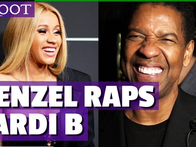 Bekijk: Denzel Washington rapt zijn favoriete Cardi B-lied