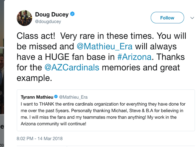 Arizona Gov. Doug Ducey Tweets About The Cardinals While Students Camp Outside His Office To Discuss Gun Violence