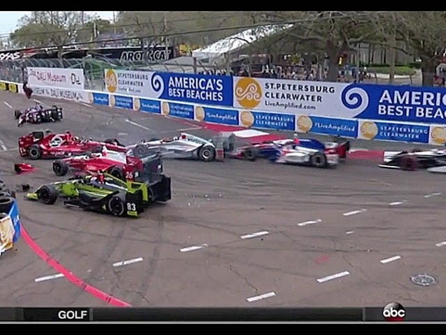 Weird IndyCar Wreck Gridlocks Half Of The Field