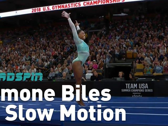 Simone Biles Fähigkeiten sind in sehr langsamer Bewegung noch mehr verrückt