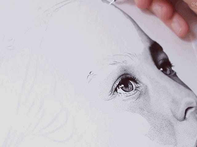 Watch This Human Inkjet Printer Create a Portrait in 300 Hours With 3 Million Hand-Drawn Dots