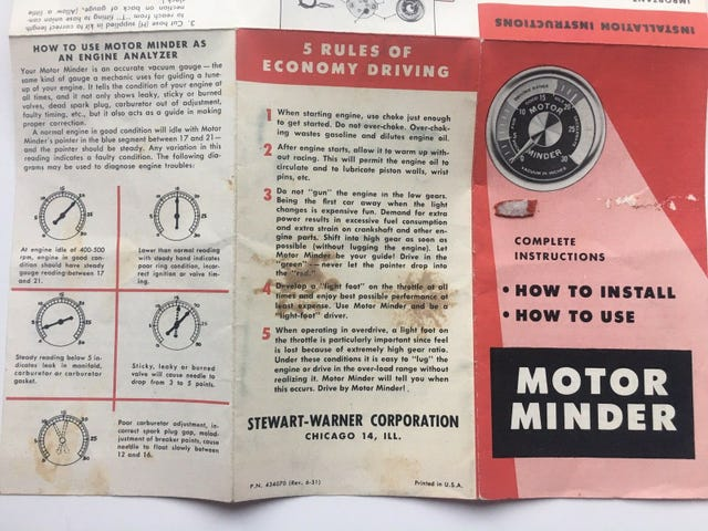 Motor Minder instructions.