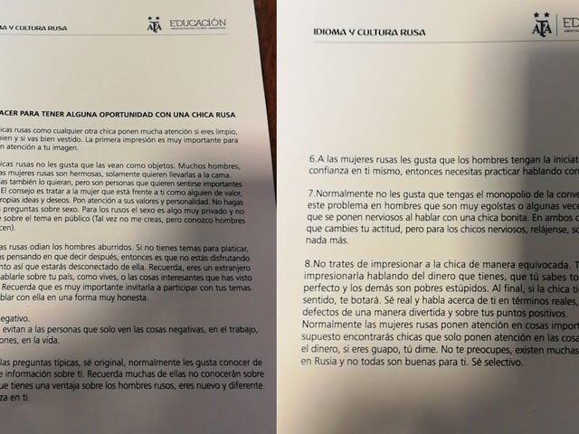 Argentina FA Puts Out World Cup Manual With Chapter On Picking Up Russian Women