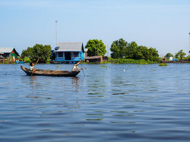 Floating. Tonle Sap River, Cambodia