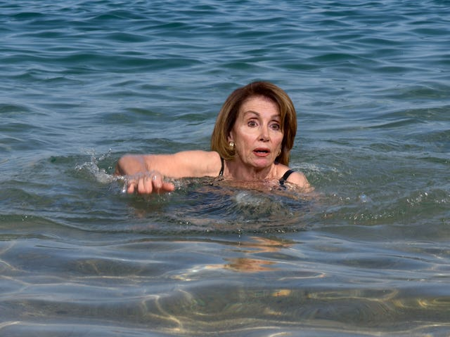 Defiant Pelosi Begins Swimming To Afghanistan After Trump Denies Use Of Government Plane<em></em>