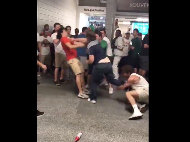Notre Dame Fans Get Into Slippery Brawl With Miami Fans