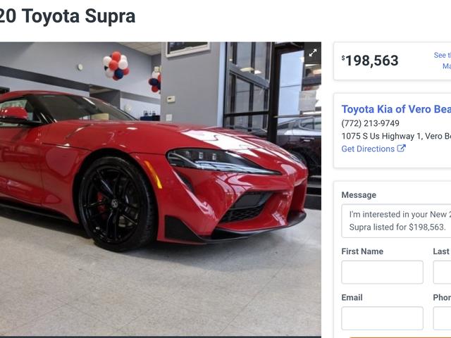 यहाँ एक 2020 टोयोटा सुप्रा को लगभग $ 200,000 तक चिह्नित किया गया है