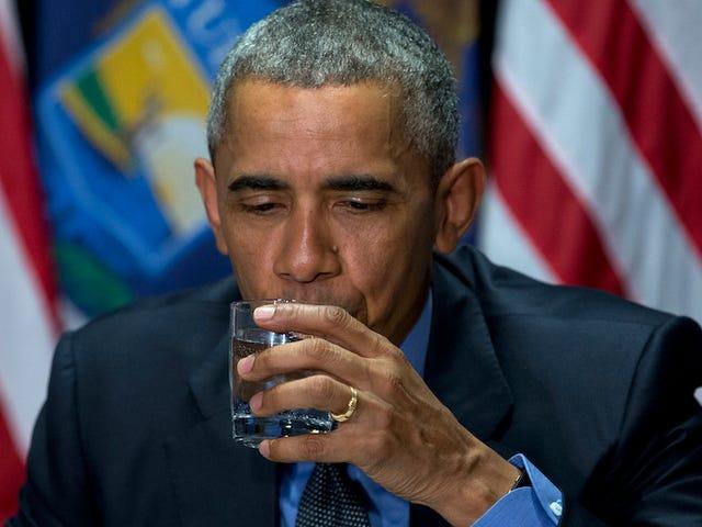 Obamas tilstedeværelse i Flint Buoys Spirits, producerer mindst et bedårende foto