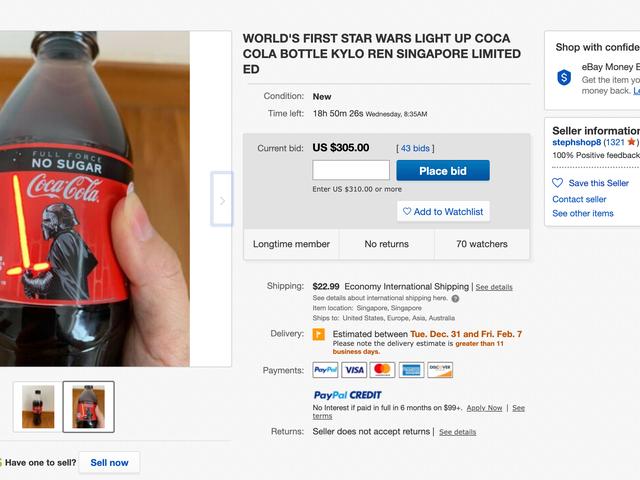 Hvis du får en lyssabel Coca-Cola, skal du ikke drikke det: de videresælger for over $ 300