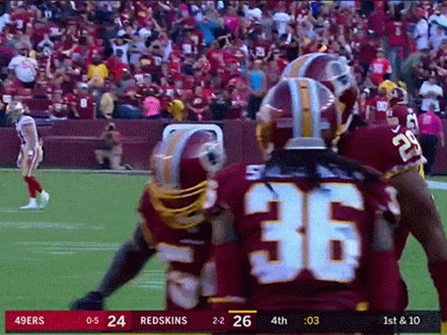 Redskins Defenders feire vinn ved å simulere et stopp og frisk