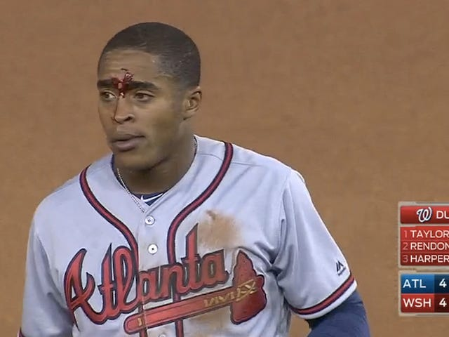 Braves' Mallex Smith Gets Caught Stealing Second, Bloodies His Face
