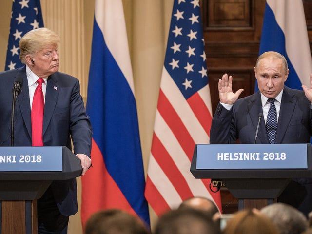 Путин дает футбольный мяч Trump, вид адресов