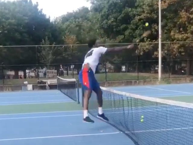 Joel Embiid Crushes Tennis Balls At The Public Courts In Philly