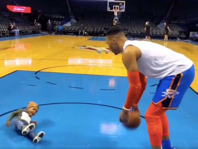 Russell Westbrook's Unsteady Son Is A Very Good Sports Baby