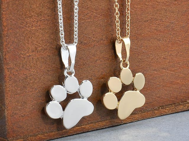 CUTE DOG PAW PENDANT NECKLACE $0.00