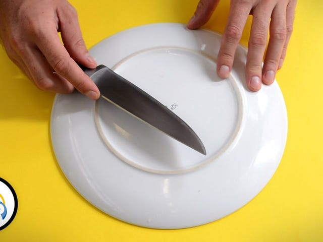 Hone a Knife in a Pinch on the Bottom of a Dinner Plate