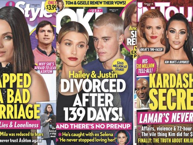 На этой неделе в бульварных газетах: Джастин и Хейли Бибер доказывают, что гетеросексуальность должна быть незаконной?