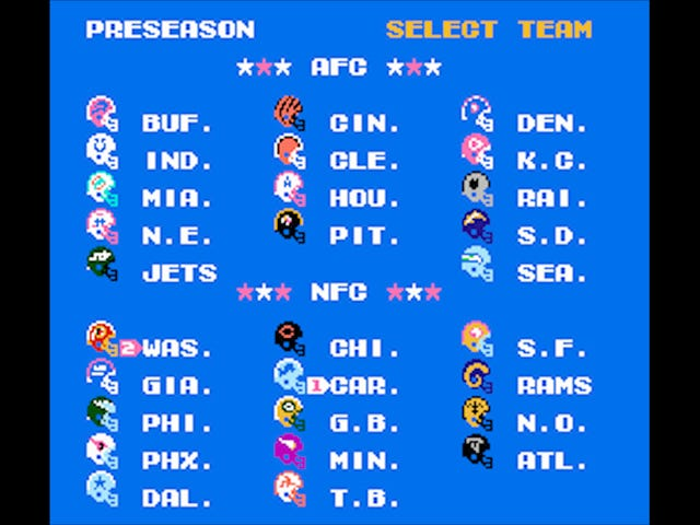 Your Monday Night Football Tecmo Super Bowl Simulation Is Live