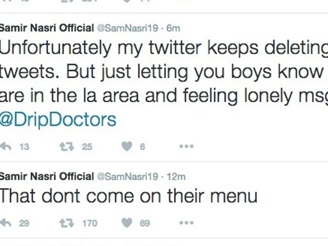 """Samir Nasri Tweets, Deletes Claims Of """"Full Sexual Service"""" From L.A. IV Treatment Center"""
