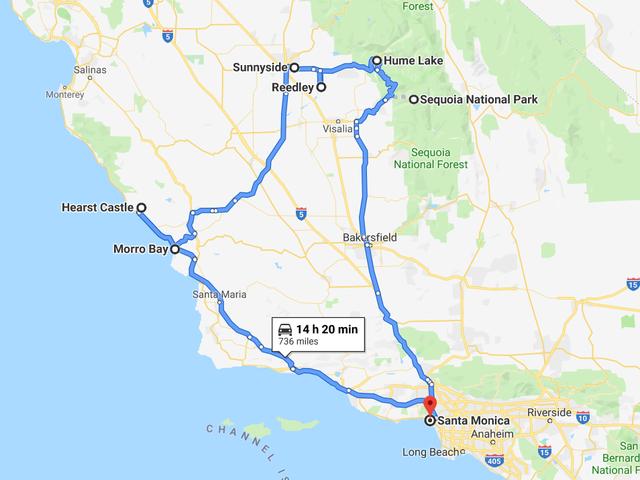 Wycieczka po środkowej Kalifornii w Mercedes-Benz G63 AMG 2019 rozpoczyna się w piątek wieczorem!  Oto trasa: