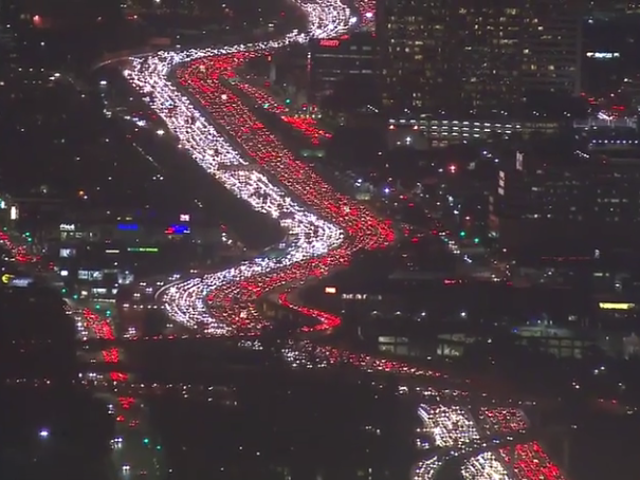 Total Gridlock Turns LA Freeway Into Gorgeous Christmas Display