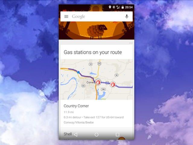 Το Google Now προσθέτει σταθμούς φυσικού αερίου στις κάρτες διαδρομής