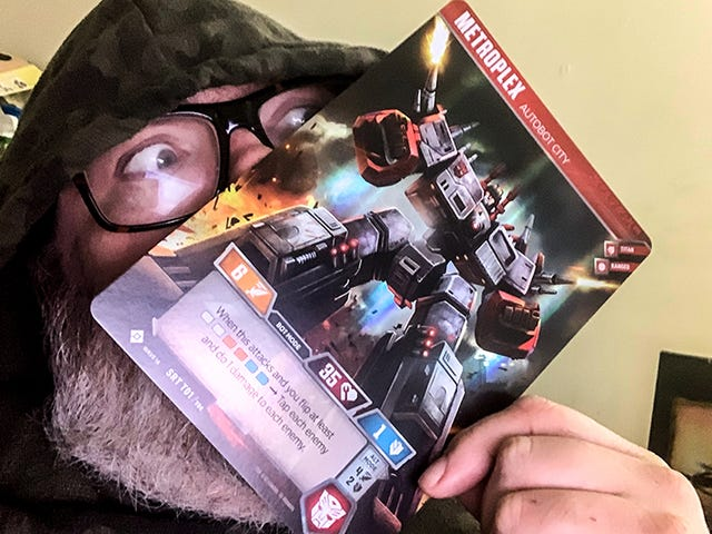 The Transformers Trading Card Game's Metroplex Is As Big As My Face