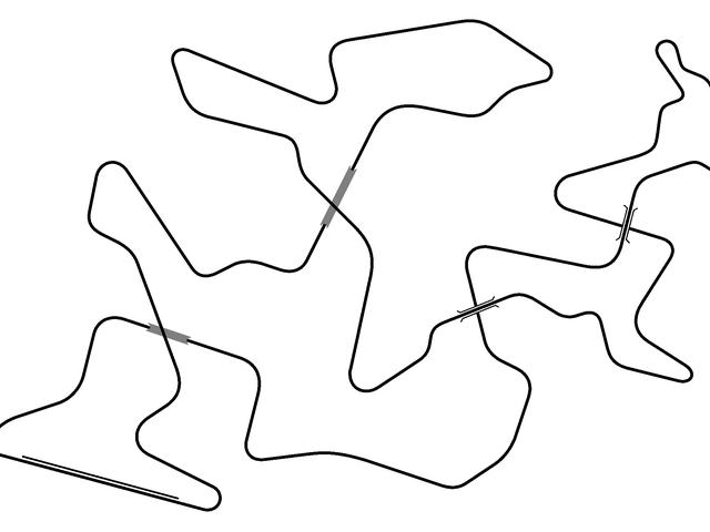 Consegui criar uma pista de corrida com quatro pontos de travessia
