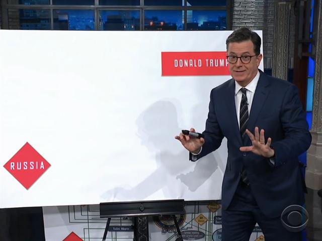 Khi nói đến thông đồng Trump-Nga, Stephen Colbert cố gắng kết nối dấu chấm