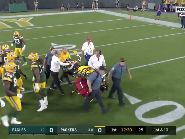 Jamaal Williams Taken Off On Stretcher Following Brutal Late Hit From Derek Barnett