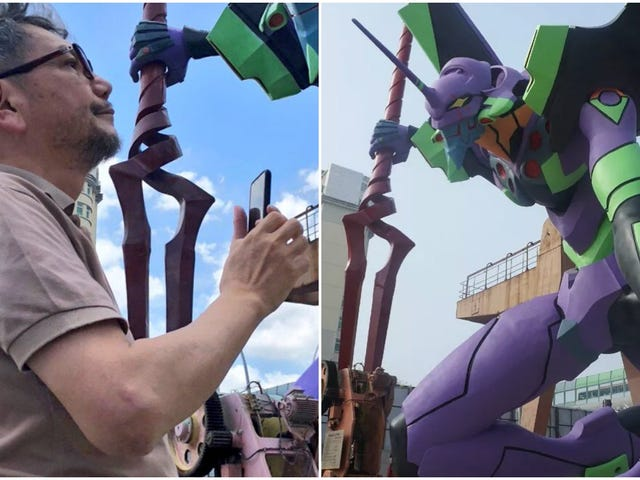 Hideaki Anno Visits The Largest Evangelion Statue In The World