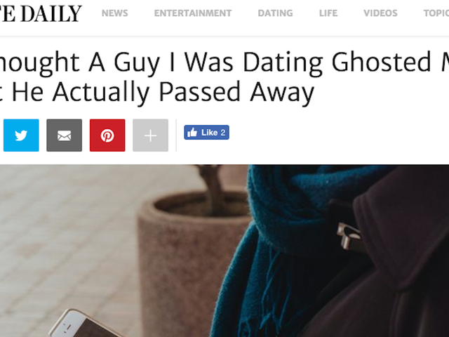 I Thought This Elite Daily Essay About a Girl Realizing Her Date Had Died in a Car Crash Instead of 'Ghosting' Her Was a Parody, But It Is Actually Real