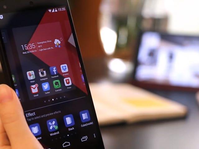 <i>launchers</i> Siete untuk Android yang diubahsuai untuk melengkapkan aspek yang sama