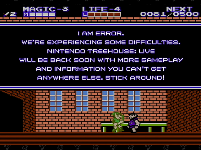 Looks like E3's West Hall had a temporary power outage, which caused this amusing Zelda II-theme