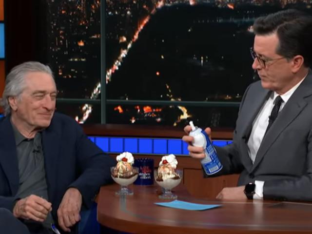 Stephen Colbert and Robert De Niro share Trump talk, a minute's silence, ice cream sundaes