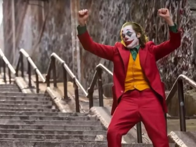 That dastardly Joker is now dancing on anything but those stairs