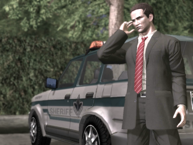 We're picking up the story in Deadly Premonition right now on Twitch