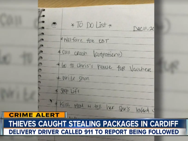 Police Find Suspected Thieves Had Written 'Shop Lift' on Their To-Do List