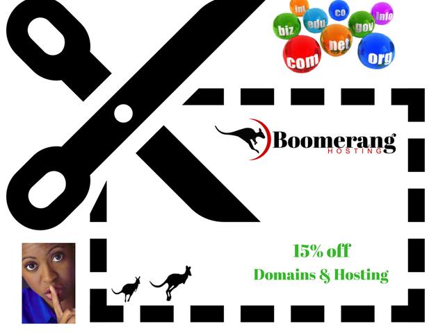 15% rabatt på alle Bomerang webhosting og domenenavn kjøp