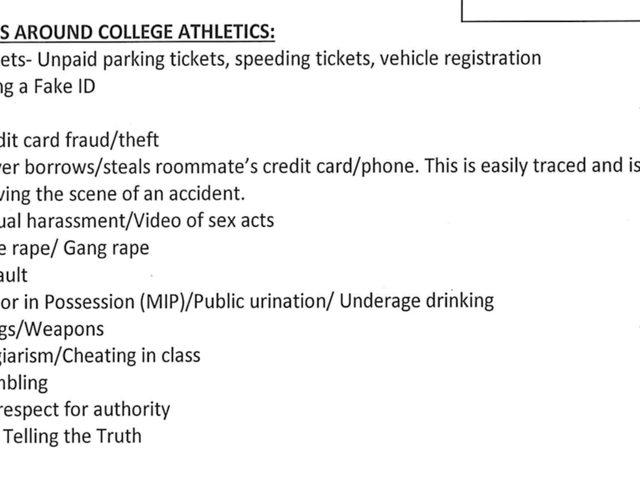 "List Of ""Pitfalls Around College Athletics"" At Minnesota Included Parking Tickets, Gang Rape"