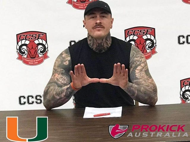 Miami Hurricanes Sign Large, Tatted-Up Australian To Be Their New Punter