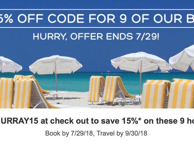 Εξοικονομήστε 15% για το Select Hotel Stays Μέχρι το τέλος του καλοκαιριού, χωρίς ημερομηνίες ματαιοδοξίας