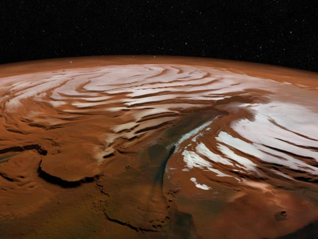 Под северным полюсом Марса обнаружен поразительный объем воды