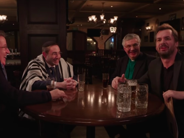 Drunk atheist Jim Jefferies tries to broker Middle East peace with a trio of churchy types