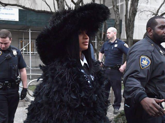 Le manteau de nombreuses plumes de Cardi B est la seule tenue acceptable pour la cour